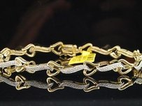 Other Diamond Heart Link Bracelet Ladies 10k Yellow Gold Round Pave Love 14 Tcw.