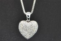 Jewelry For Less Diamond Heart Pendant 10k White Gold 0.45 Ct Domed Love Charm With Chain