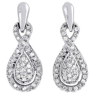 Jewelry For Less Diamond Infinity Loop Earrings 10k White Gold Round Ladies Danglers 13 Ct.