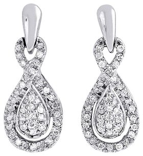 Diamond Infinity Loop Earrings 10k White Gold Round Ladies Danglers 13 Ct.