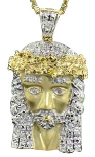 Diamond Jesus Face Pendant 10k Yellow Gold 0.24 Ct Cross Charm With Chain