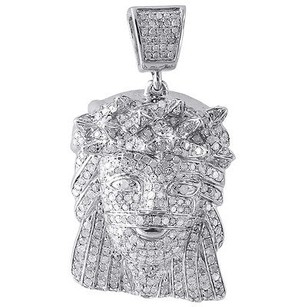 Jewelry For Less Diamond Jesus Piece Pendant 10k White Gold Fully Iced Out Face Charm 1.80 Ct.