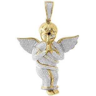 Jewelry For Less Diamond Mini 3d Angel Piece Pendant Fully Iced 10k Yellow Gold 2 Charm 1 Ct.