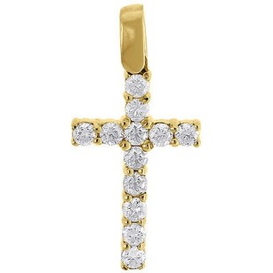 Jewelry For Less Diamond Mini Cross Pendant Solitaire Round Cut 10k Yellow Gold Charm 0.80 Ct.