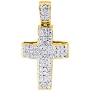 Jewelry For Less Diamond Mini Domed Cross Pendant 10k Yellow Gold Round Cut Pave Charm 0.65 Ct.