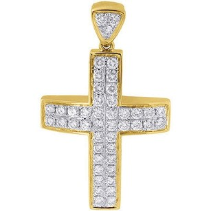 Jewelry For Less Diamond Mini Domed Cross Pendant 10k Yellow Gold Solid Side Wall Charm 1.03 Ct.