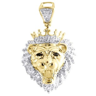Other Diamond Mini King Crown Lion Head Pendant .925 Sterling Silver Charm 0.36 Tcw