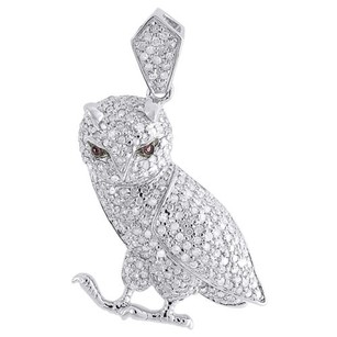 Diamond Owl Pendant Ladies .925 Sterling Silver Pave Bird Animal Charm 1 Tcw.