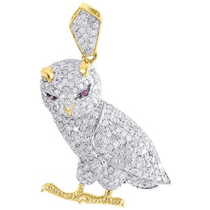 Other Diamond Owl Pendant Mens 10k Gold Round Pave Fashion Bird Charm 1 Tcw.