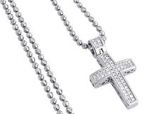Other Diamond Pendant Mini Jesus Piece Cross .925 Charm 0.33 Ct With Moon-cut Chain