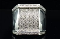 Jewelry For Less Diamond Pinky Ring Mens .925 Sterling Silver Round Pave Square Design 0.38 Tcw