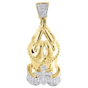 Other Diamond Praying Hands Pendant 10k Yellow Gold Round Pave Rosary Charm 0.26 Tcw.