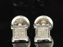 Jewelry For Less Diamond Square Earrings .925 Sterling Silver Round Pave Studs 0.05 Ct.