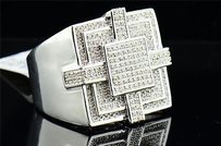Other Diamond Square Pinky Ring Mens .925 Sterling Silver Round Pave Design 0.39 Tcw