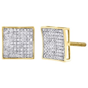 Other Diamond Square Studs 10k Yellow Gold Concave Pave Fashion Earrings 0.37 Tcw.