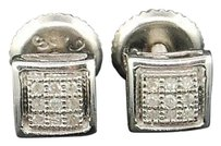 Other Diamond Square Studs .925 Sterling Silver Round Pave Earrings 0.05 Ct.