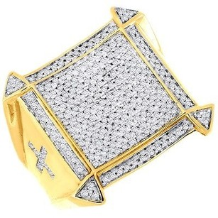 Jewelry For Less Diamond Statement Pinky Ring Mens 10k Yellow Gold Round Cut Pave Band 0.71 Ct.