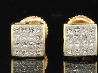 Jewelry For Less Diamond Stud Earrings Mens 14k Yellow Gold Square Princess Cut 0.61 Tcw.