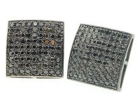 Jewelry For Less Diamond Studs Mens 10k Black Gold Round Pave Square Shape Earrings 1.64 Tcw.