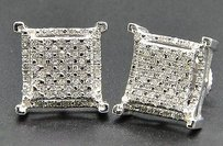 Jewelry For Less Diamond Studs Sterling Silver White Finish Prong 3d Square Earrings 0.33 Ct.