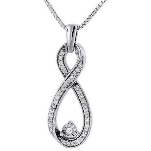 Other Double Infinity Diamond Pendant White Gold Round Charm With Necklace 0.16 Ct.