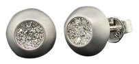 Diamond,Domed,Brushed,Finish,Earrings,10k,White,Gold,Round,Pave,Studs,14,Tcw.