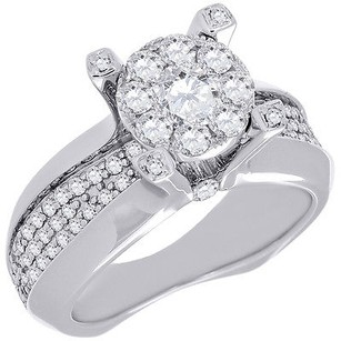 Diamond Engagement Wedding Ring 14k White Gold Euro Shank Round Cut 1.30 Ct.