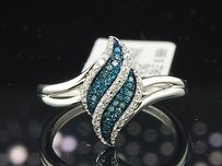 Ladies 10k White Gold Blue White Diamond Engagement Fashion Cocktail Ring Band