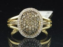 Ladies 10k Yellow Gold Brown Champagne Diamond Engagement Cocktail Fashion Ring