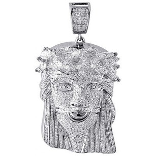 Jewelry For Less Genuine Pave Diamond Jesus Piece Charm 10k White Gold 2.41 Pendant 3.70 Ct.