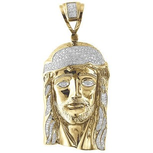 Jewelry For Less Genuine Pave Diamond Jesus Piece Charm 10k Yellow Gold 2.28 Pendant 0.85 Ct.