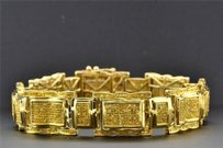 Jewelry For Less Genuine Yellow Diamond Bracelet 8.5 Round Cut Pave Set 10k Yellow Gold 3.05 Ct
