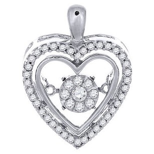 Jewelry For Less Heart Diamond Dancing Pendant Round Solitaire 10k White Gold With Chain 14 Tcw.