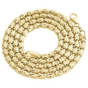 Other Solid 10k Yellow Gold Diamond Cut Barrel Chain 4mm Necklace Oval Bead 22-30 Inch