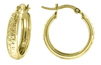 Other 10k Yellow Gold Diamond Cut Hinged Hoop 0.74 Fashion Earrings