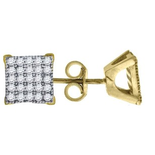 Jewelry For Less 10k Yellow Gold Square Pave Cz 0.33 Stud Push Back Earrings