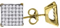 Jewelry For Less 10k Yellow Gold Square Pave Cz 0.39 Stud Push Back Earrings