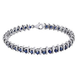 Jewelry For Less Sterling Silver Round Blue Sapphire Lab Created Gemstone S-link Bracelet 6.48 Ct