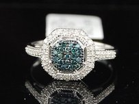 Jewelry For Less Ladies 10k White Gold Blue .25 Ct Diamond Pave Ring