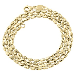 Jewelry For Less Ladies 10k Yellow Gold Diamond Cut Rice Bead Chain 2mm Italian Necklace 20-24