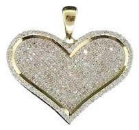 Other Ladies 10k Yellow Gold Love Heart Pave Diamond Pendant Charm For Necklace 1 Ct.