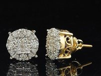 Jewelry For Less Ladies 14k Yellow Gold Princess Cut Halo Set Diamond Studs Earrings 1.50 Ct.