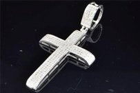 Jewelry For Less Mens 10k White Gold Genuine White Diamond Cross Pendant Flat Charm .65 Ct.