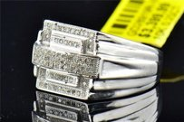 Jewelry For Less Mens 10k White Gold Round Cut Pave Genuine Diamond Designer Pinky Ring 0.25 Ct.