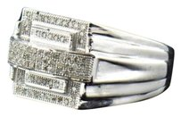 Other Mens 10k White Gold Round Cut Pave Genuine Diamond Designer Pinky Ring 0.25 Ct.