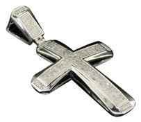 Mens .925 Sterling Silver Real Diamond Pave Set Dome Cross Pendant Charm .55 Ct.