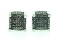 Jewelry For Less Mens Black Diamond Earrings .925 Sterling Silver Pave 3d Cube Studs 1.05 Ct.
