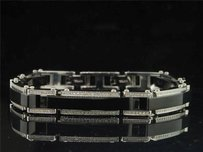 Jewelry For Less Mens Black Pvd Stainless Steel 1.25 Ct. Round White Diamond Bangle Link Bracelet