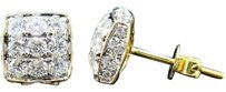 Other Mens Ladies 10k Yellow Gold 3d Square Real Diamond Domed Stud Earrings 1.85 Ct.