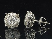 Jewelry For Less Mens Ladies 14k White Gold Solitaire Halo Round Cut Diamond Studs Earrings Ct.